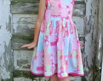 V Back Pineapple Dress ( 2T,  3T, 4T, 5, 6, 7, 8, 10)