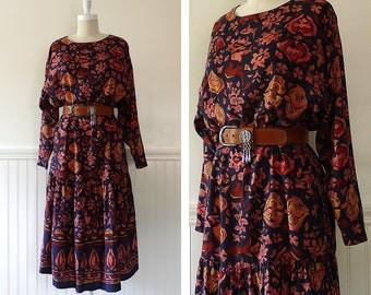 1980s Outback Red Dress --> 1980s Dress -->  Dress Boho --> 80s Dress --> Batik Dress --> 1980s Clothing --> Drop Waist Dress --> Boho Dress