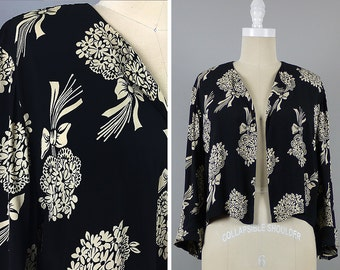 1940s Rayon Jacket --> 1940s Blouse --> 1940s Top --> 1940s Novelty Print --> 1940 Clothing --> 1940s Clothing  --> 1940s Floral Print