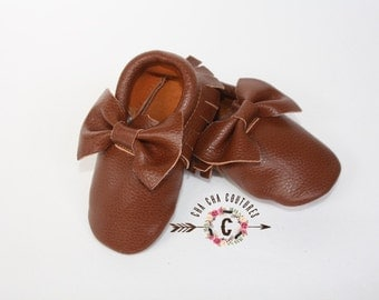 WOW!  COFFEE  BOWS Moccasins 100% genuine leather baby moccasins Mocs moccs