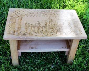 Wood burned castle altar, Medieval altar, Wiccan altar, Renaissance altar, wood burned table, wood burned altar, Sacred space altar