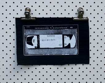 VHS Tape Patch screen printed black canvas