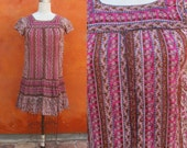 Vintage 1970s Indian cotton GAUZE Floral Midi DRESS. Boho Gypsy Festival Hippie bohemian Coachella. Pink Brown Taupe. Small