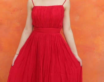 Vintage 1950s 1960s Red Chiffon Swing Dress. Prom Party Cocktail Evening. Pixie of California