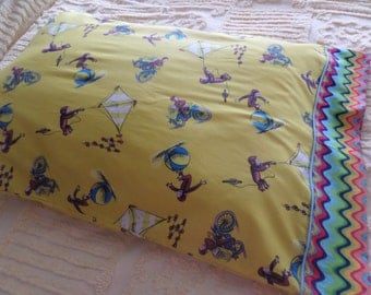 Curious George . silly monkey .  standard size children's pillow case . hidden seams