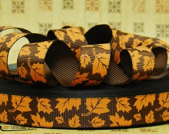 "5/8"" Fall Autumn Leaves  Embossed Grosgrain Ribbon"