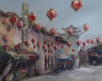 "California, street scene, Los Angeles, architecture, red lanterns. Before Opening Hours, Chinatown- Original Watercolor Painting 16"" x 16""."