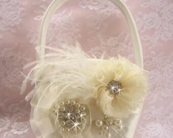 SUMMER SALE Flower Girl Basket, Flower Girl Basket  Elegant and Classic Ivory or white 3D