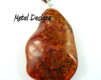 AMBER!! Baltic Amber Pendant - With Sterling silver bail.  Unique one of a kind piece! #m3