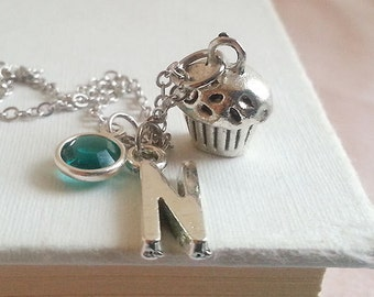 Initial Necklace. Silver Muffin Necklace. Personalized  Necklace. Cupcake Necklace. Birthstone Necklace. Cake Necklace. Baker Necklace