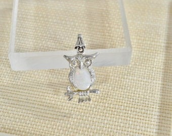Handmade Fine Silver Owl Pendant with Opal Cabochon