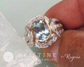 Aquamarine Dinner Ring Gold and Diamond Halo Gemstone Cocktail Ring September Birthstone Gemstone