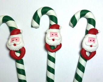 New Cute Handmade Polymer Clay Writing Fimo Pen Green Santa Claus Christmas
