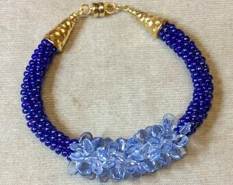 Handcrafted Blue Kumihimo Bracelet with  Clustered Light Blue Pip Bead Focal, Sead Bead Bracelet, Braided braid Bracelet