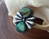 RESERVED Turquoise two stone statement ring