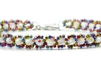Beaded Anklet - Multi-color - Beaded Jewelry - Czech Glass Ankle Bracelet - Seed Bead Anklet  -Summer Anklet - Beach Jewelry