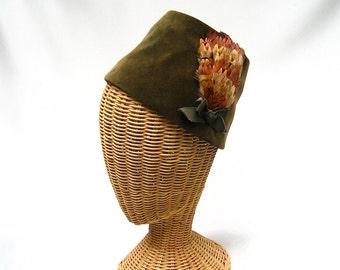 Vintage Ladies Hat Olive Green Velvet Fez Pheasant Feathers