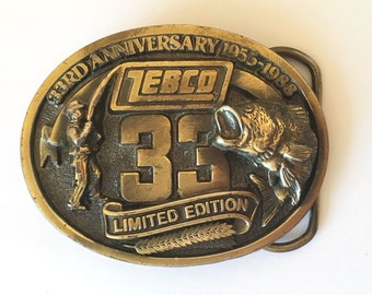 1988 Zebco 33rd Aniversary Belt Buckle Limited Edition Angler & Bass Fisherman