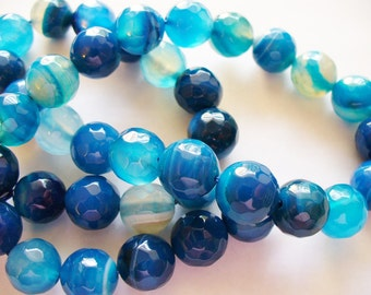 Agate Beads Gemstone Faceted Blue Round 10MM