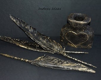 Black Feather pen, Feather ballpoint pen, unique gift for him, gift for writer, artist pen, Spiritual book pen, pagan spell magic.