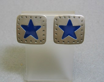 Texas Star Clip Earrings, Matte Silver and Blue