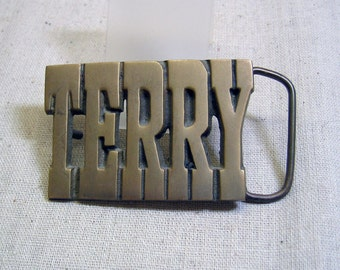 Vintage 1970s Cast Brass Name TERRY  Belt Buckle