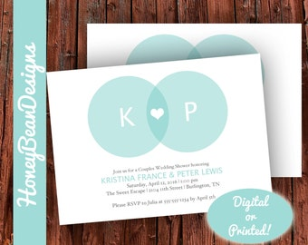 PRINTABLE Couples Wedding Shower Invitation Teal Blue