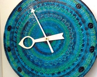 Vintage Bitossi Italian Art Pottery Meridian Clock by Aldo Londi.  Howard Miller.  Rosenthal Netter.  1960's.   Rimini Blue Glaze.