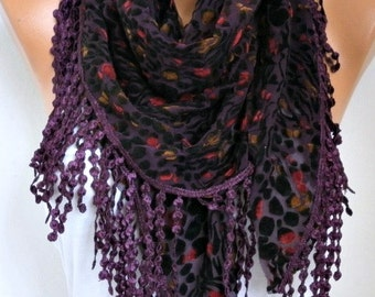 Purple & Black Tulle Velvet Scarf, Shawl,Fall Summer Scarf , Cowl Scarf, Gift Ideas For Her , Women Fashion Accessories - fatwoman