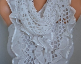 Off White Filet Scarf Shawl Cowl Scarf Bridal Accessories Bridesmaid Gift Gift Ideas For Her Women's Fashion Accessories Women Scarves