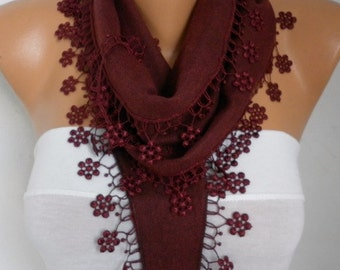 Burgundy Floral Pashmina Scarf Wine Scarf Cowl Scarf bridesmaid gift Gift Ideas For Her Women Fashion Accessories Mother's Day Gift