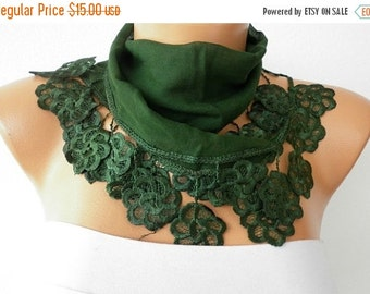 Emerald Green Cotton Scarf, Spring Scarf, Cowl Bridesmaid Gift Gift Ideas For Her, Women Fashion Accessories