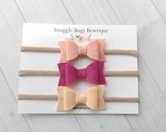 Set of 3 Mini Chunky Wool Felt  Bow Headbands- Fuchsia, Blush and Peach- Nylon Headbands-Baby Shower Gift-Baby Headband Starter Pack