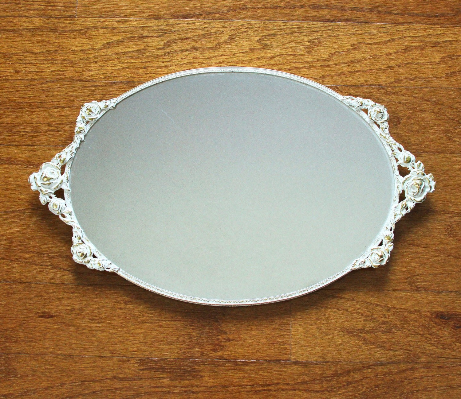 Oval mirrored vanity tray perfume tray with handles white for Mirrored bathroom tray