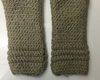 Writer's gloves in Khaki Organic Cotton -- for writing, yoga, iPhone, typing, carpal tunnel, arthritis