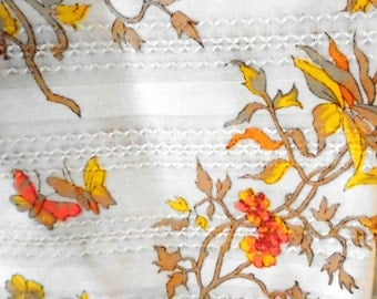 Vintage Fabric Yardage 1960's Cotton Fabric Floral Butterflies Woven Stripe 3 Yards One Price