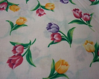 Tulips Fabric Pale Pink Background Colorful Tulips New By The Fat Quarter