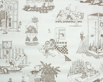 Retro Wallpaper by the Yard 70s Vintage Wallpaper - 1970s Mermaid Bathroom Comic Brown and White