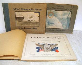 Collier's History Books Set of 3 Antique Photographic - United States Navy, European War, World's War - Frontline Photos, Sketches Paintings