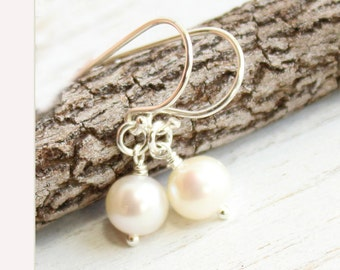 Sterling Silver French Hook and Freshwater Pearl Earrings