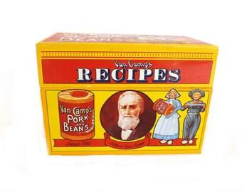 1986 Vintage Van Camp Recipe Box, Van Camp Pork and Beans, Advertising Tin, Vintage Memorabilia, Kitchen Decor, Metal Recipe Box Storage