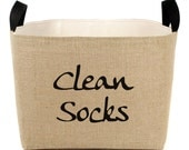 Clean Socks Burlap Storage Bin - elegant rustic laundry room organization