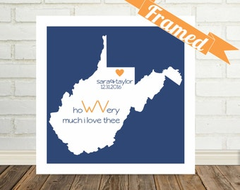 WEST VIRGINIA Map Print, Wedding Gifts For Couple, Special Wedding Gift, Personalized Wedding Gift, Valentines Day Gift, Holiday Gift