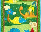 Classic Jurassic Fabric Panel D Dinosaurs at Play Wilmington Prints 100% Cotton Quilt Craft Triceratops Pteranodon T Rex Brachiosaurus