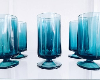 HEAVY set of 6 Vintage Peacock Turquoise Teal Jewel Cobalt Water Glass Tumblers Libbey Octagonal Glasses