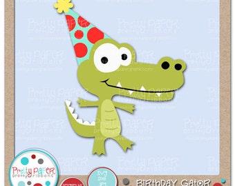 Birthday Gator Cutting Files & Clip Art - Instant Download