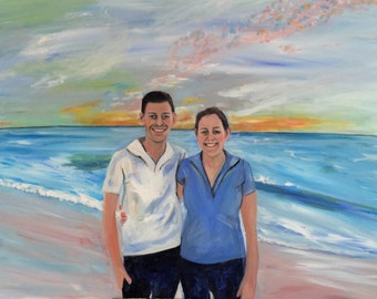 Their Children in Cancun Family Vacation Memory Original Oil Painting by Marlene Kurland  36 x 48  SOLD