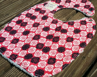 Large Red, Black, and White Roses Baby Girl to Toddler Bib - Minky Backed Bib - Ready to Ship