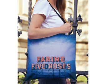 Blue Tote Bag Farine Five Roses Montreal - Yoga Bag, Travel Tote Bag, Farmers Market Bag, Fashion Bag - Small or Large Sizes Available