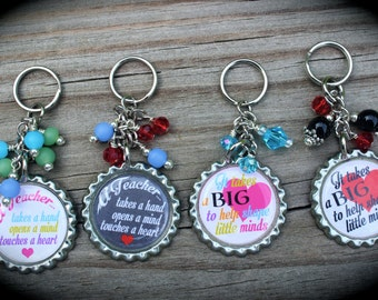 SET OF FOUR - Personalized Teacher Keychains - Teacher Appreciation - Inspire - Education - End Of School - Teacher Gift - School - Mentor -